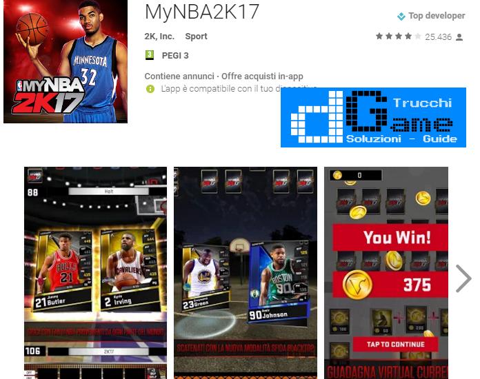 Trucchi NBA 2K17 Mod Apk Android v0.0.27
