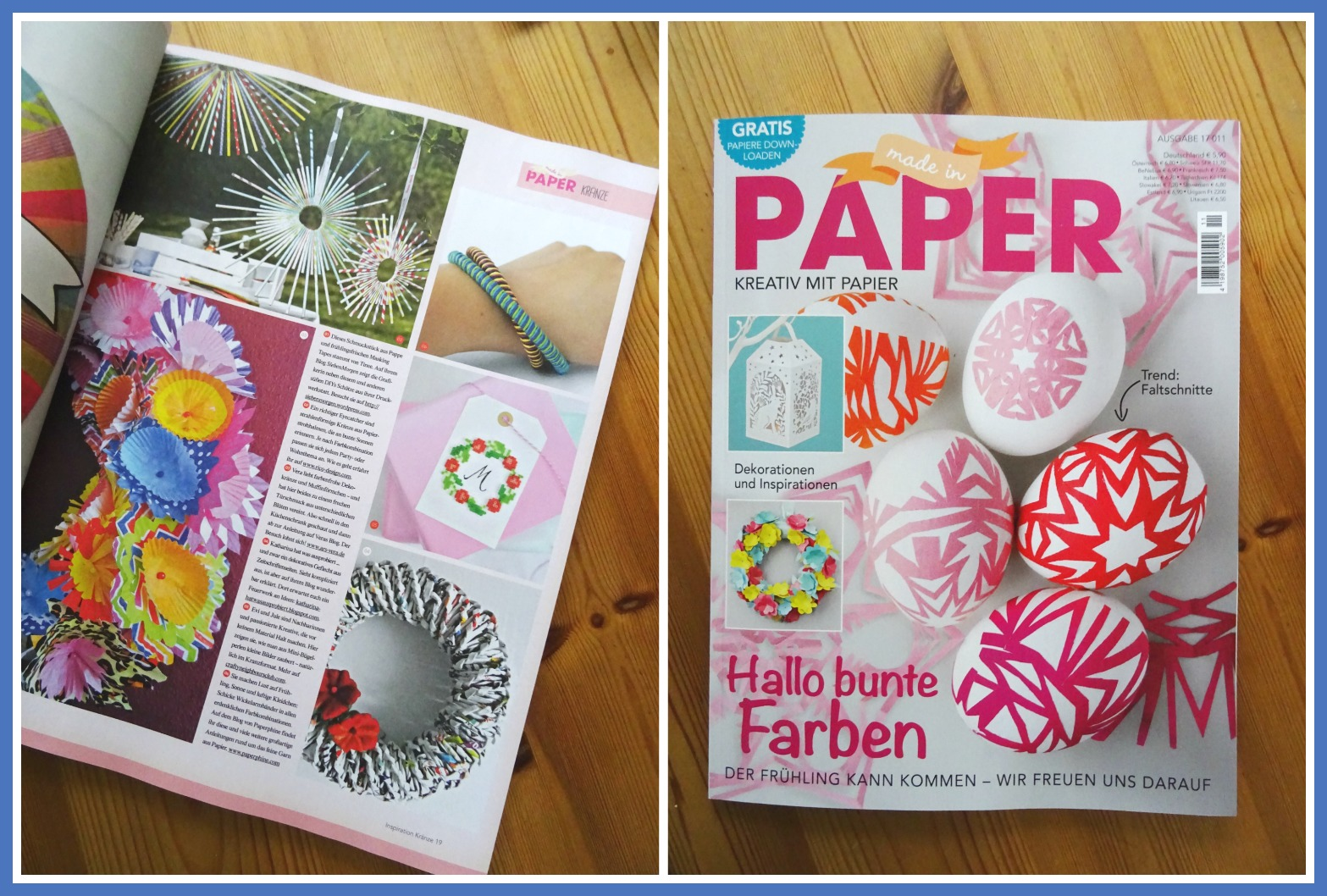 ich hab da mal was ausprobiert: Papierkranz aus alten Zeitschriften