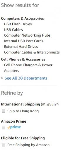 Amazon 搜尋結果左欄