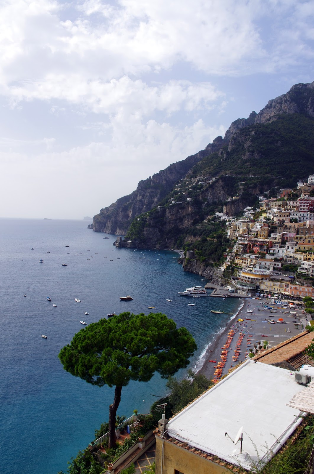 View of Positano from road