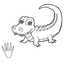 Cute Paw Baby Crocodile For Coloring Sheet Images