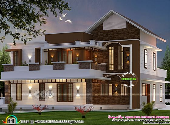 2700 square feet 4 bedroom mixed roof modern house