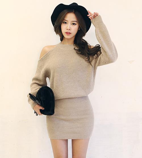7bf43a024b Dabagirl] Halter Neck Knit Dress   KSTYLICK - Latest Korean Fashion ...