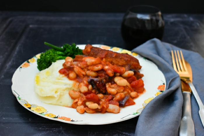 Veggie Sausage and White Bean Casserole