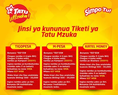 How To Play TATU MZUKA Through MPESA, TIGO PESA And AIRTEL MONEY , 2019