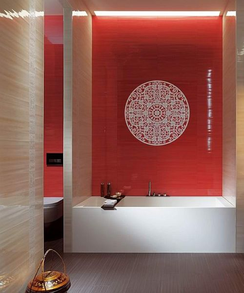 modern bathroom with red wall and decor tile