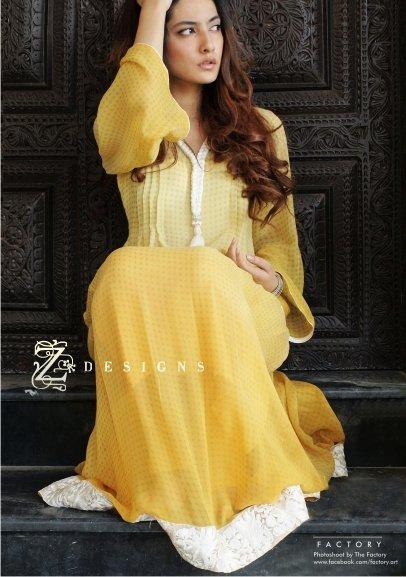 2a3b44dea6 Z Designs Formal Collection 2011. Yellow semi formal Pakistani dresses 2011