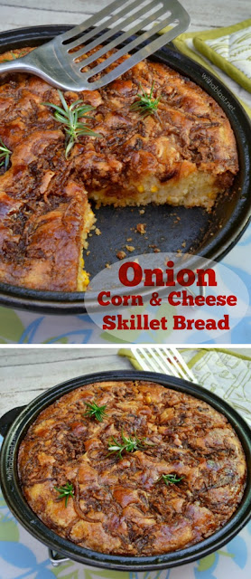Scrumptious Skillet Bread with Onion Corn kernels and Cheese - all with a delicious dark, salty, buttery topping ~ breakfast, brunch, lunch or serve as a snack