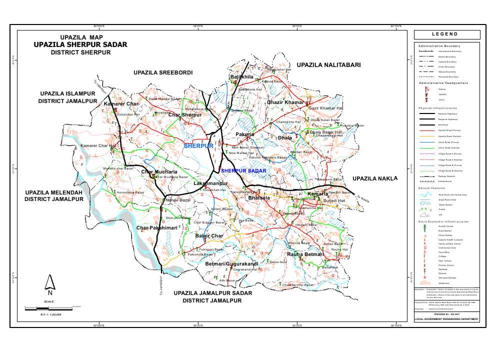 Sherpur Sadar Upazila Map Sherpur District Bangladesh