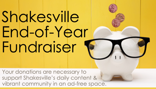 image of a white piggy bank wearing black glasses, into which three pennies are falling, accompanied by text reading: 'Shakesville End-of-Year Fundraiser | Your donations are necessary to support Shakesville's daily content & vibrant community in an ad-free space.'