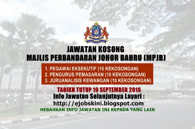 Jawatan Kosong Majlis Perbandaran Johor Bahru (MPJB)