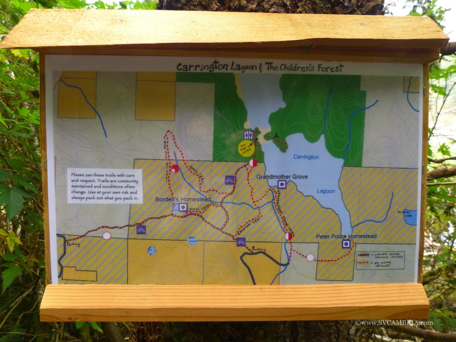 Carrington Bay, Cortes Island trail map.