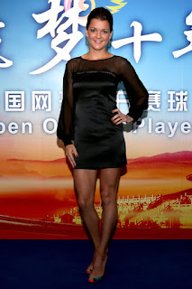 Aga posing for a photo at the Beijing Open