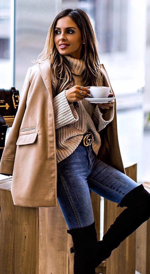 cozy outfit inspiration / nude coat + knit sweater + skinny jeans + over knee boots