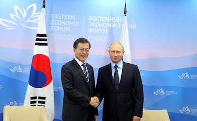 Vladimir Putin and President of the Republic of Korea Moon Jae-in in Vladivostok.