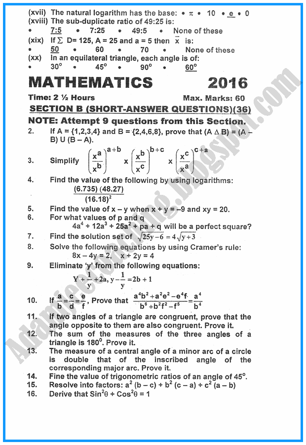 x-mathematics-past-year-paper-2016