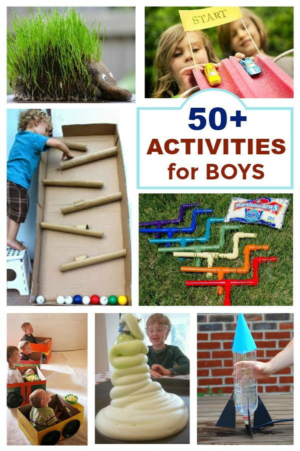 50+ Super fun activities & crafts for boys! #activitiesforboys #activitiesforboyssummer #craftsforboys #thingsforboystodowhenbored