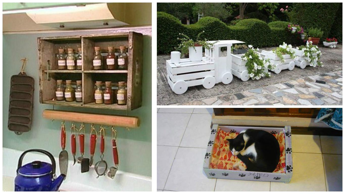 17 ideas para reutilizar cajas de fruta en nuestro hogar - Cajas para cocina ...