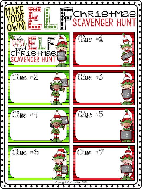 Make Your Own! Elf Christmas Scavenger Hunt Game Cards