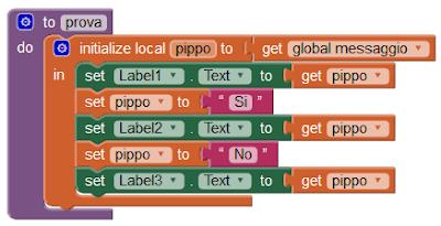 Variabili locali in MIT App Inventor 2