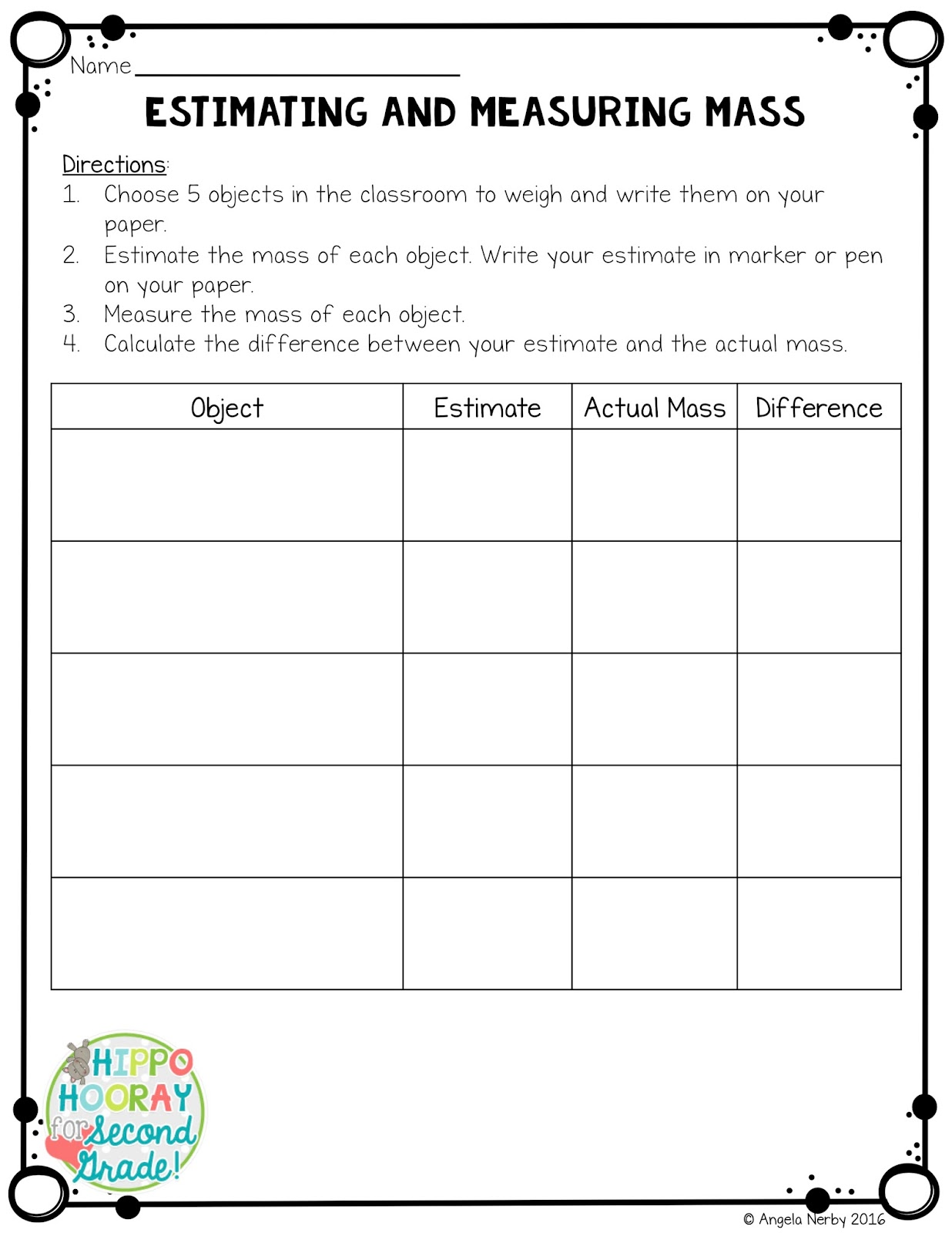 hight resolution of Mass Made Easy: Strategies for Teaching Students to Find Mass - Hippo  Hooray for Second Grade!