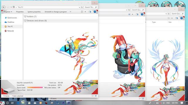 Windows 10 Ver. 1803 Theme Hatsune Miku Racing by Enji Riz