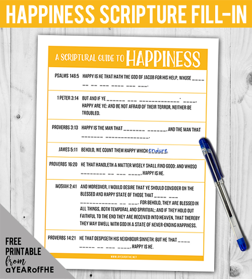 A Year of FHE // Check out this free download of a scripture activity for older kids and teens.  Look up each scripture that tells a way the scriptures teach us we can be happy and fill-in the blanks! Great for FHE, young mens, young womens, or a sacrament meeting quiet activity.  #lds #familyhomeevening #happiness