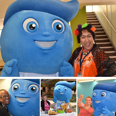 Montage of Images of Splash mascot taking photos with Rio Salado employees and friends.