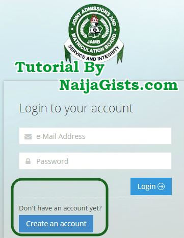 how to create profile account jamb website