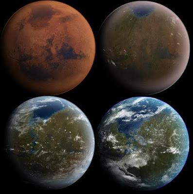 Minh hoạ sao Hoả trở thành hành tinh xanh sau khi bầu khí quyển được khôi phục nhờ vào từ trường nhân tạo. Ảnh: NASA