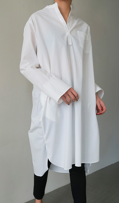 Henley Button Shirt Dress