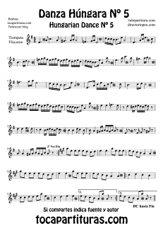 Partitura de Danza Húngara Nº 5 de Trompeta y Fliscorno by Johannes Brahms Sheet Music for Trumpet and Flugelhorn Hungarian Dance Nº5 Music Scores