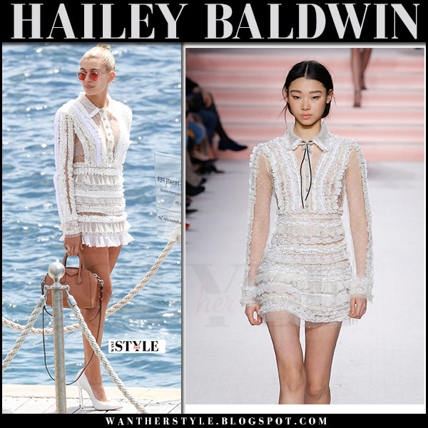 Hailey Baldwin in white lace ruffled mini dress philosophy di lorenzo serafini what she wore may 23 2017 cannes