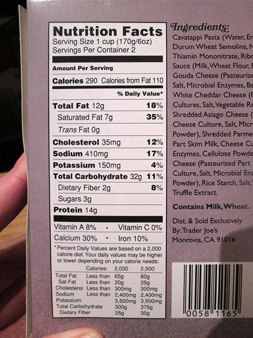 Trader Joe's Truffle Mac & Cheese Nutrition Facts