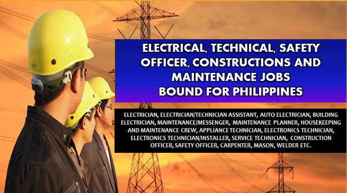 Are you an experienced Technical, Electrical, and Safety Officer and looking for a job? The following are job vacancies for you. If interested, you may contact the employer/ agency listed below to inquire further or to apply.   JOB VACANCIES  1. ELECTRICIAN Apply before 31 Jul Vacancy: 5 Openings Office Address: Unit 3A, Building 5, Salem Commercial, Complex, Domestic Road, Barangay 191, Pasay City Company; LUC FOODS INC.  2. ELECTRICIAN/TECHNICIAN ASSISTANT Apply before 22 Jun Vacancy: 1 opening Office Address Tandang Sora, Quezon City, Metro Manila, Philippines Company:  Fyrelyn Industries, Inc.  3. ELECTRICIAN Apply before 7 Jul Vacancy: 1 opening Office Address San Miguel Ave, San Antonio, Pasig, Metro Manila, Philippines Company: Atalian Philippines  4. AUTO ELECTRICIAN Apply before 30 Dec Vacancy: 4 openings Salary: 15,400.00 - 16,400.00 PHP/ month Office Address General Trias, Cavite, Pilipinas Company: MEAT ADVANTAGE EXCHANGE INC.  5.  AUTO ELECTRICIAN Apply before 30 Dec Vacancy: 4 openings Salary: 15,400.00 - 16,400.00 PHP/ month Office Address Las Piñas, Kalakhang Maynila, Pilipinas Company: MEAT ADVANTAGE EXCHANGE INC.  6. BUILDING ELECTRICIAN Apply before 30 Dec Vacancy: 4 openings Salary: 15,400.00 - 16,400.00 PHP/ month Office Address General Trias, Cavite, Pilipinas Company: MEAT ADVANTAGE EXCHANGE INC.  7. INDUSTRIAL ELECTRICIAN Apply before 23 Dec Vacancy: 1 opening Office Address: Marilao, Bulacan, Philippines Website: http://www.hobe.com.ph  Company: MARIKINA FOOD CORPORATION  8. MAINTENANCE/MESSENGER Apply before 30 Aug Vacancy: 1 opening Salary: 10,000.00 - 15,000.00 PHP / month · Full time Office Address Amberland Plaza, Jade Dr, San Antonio, Pasig, 1605 Metro Manila, Philippines Company: ELearning Edge, Inc.  9.  MAINTENANCE SUPERVISOR Apply before 1 Jul Vacancy: 1 opening Office Address 5/F RFM Corporation, Center Pioneer cor. Sheridan Street, Metro Manila, Mandaluyong, 1550, Philippines Company: Atalian Philippines  10. REPAIR AND MAINTENANCE OFFICER Apply before 30 Aug Vacancy: 1 opening Office Address 5/F RFM Corporation, Center Pioneer cor. Sheridan Street, Metro Manila, Mandaluyong, 1550, Philippines Company: Standard Hospitality Group  11. MAINTENANCE PLANNER Apply before 31 Jul Vacancy: 3 openings Office Address Mabalacat, Pampanga, Philippines Company: Trust International Paper Corporation  12. HOUSEKEEPING AND MAINTENANCE CREW Apply before 29 Jul Vacancy: 30 openings Office Address UG Active Fun Building, 9th Ave Cor 28th Street Bonifacio Global City, Taguig, Metro Manila, Philippines Company: Funmania Inc.  13. APPLIANCE TECHNICIAN Apply before 30 Dec Vacancy: 3 openings Salary: 12,766.00 - 16,000.00 PHP / month · Full time Office Address Minotti Showroom, GF Fort Victoria 5th Avenue Corner 23rd Street, Bonifacio Global City, EDSA Shangri-la Plaza, Metro Manila, Philippines Company: Living Innovations Corp.  14. FIELD SUPPORT TECHNICIAN Apply before 10 Aug Vacancy: 50 openings Salary: 12,000.00 - 20,000.00 PHP / month · Full time Office Address Synetserve, Shaw Blvd, Mandaluyong, Metro Manila, Philippines Company: Metrotech Rental Solutions, Inc.  15. IT ASSISTANT | SOFTWARE AND HARDWARE TECHNICIAN Apply before 4 Jul Salary: 10,000.00 - 12,500.00 PHP / month · Full time Office Address DJTI Centrale 11 Ipil Street, Saint Anthony Subdivision, Cainta, CALABARZON, Philippines  16. IT TECHNICAL ASSISTANT Apply before 27 Dec Vacancy: 1 opening Office Address 37 EDSA corner Boni Avenue, Mandaluyong, Metro Manila, Philippines Company: Philippine Red Cross  17. ELECTRONICS TECHNICIAN Apply before 30 Jun Vacancy: 2 openings Office Address 1601 E. Rodriguez Sr. Ave, Brgy. Pinagkaisahan, 3F Tanbel Bldg., Quezon City, Metro Manila, Philippines Company: Geotech Mercantile Corporation  18. ELECTRONICS TECHNICIAN Apply before 6 Aug Vacancy: 20 openings Salary: 10,000.00 - 12,000.00 PHP / month · Full time Office Address 4th Floor, Globe Telecom Plaza Tower 1, Pioneer, Mandaluyong, National Capital Region, Philippines Company: ASTICOM Technology Inc.  19. ELECTRONICS TECHNICIAN/INSTALLER Apply before 30 Aug Vacancy: 3 openings Office Address 2728 Rizal Avenue, Sta. Cruz, Manila, Manila, Metro Manila, Philippines Company: Chain Glass Enterprises Inc.  20. INDUSTRIAL TECHNICIAN Apply before 23 Dec Vacancy: 1 opening Office Address Marilao, Bulacan, Philippines Company: Marikina Food Corporation  21. SERVICE TECHNICIAN Apply before 29 Sep Vacancy: 1 opening Office Address 122, Primo Cruz, Mandaluyong, 1550 Metro Manila, Philippines Company: Integrated Security and Automation Inc.  22. IT PERSONNEL Apply before 23 Jul Vacancy: 5 openings Office Address Binondo, Manila, Metro Manila, Philippines Company: Venir Electronics Technology Corporation  23. CUSTOMER CARE/ELECTRONICS Apply before 30 Dec Vacancy: 200 openings Salary: 15,000.00 - 30,000.00 PHP / month · Full time Office Address Unit 605, 6th Floor BSA TWIN TOWERS, Bank Drive, Ortigas Center, Mandaluyong Company: Aces Call Center Jobs Inc.  24. Construction Safety Officer Apply before 29 Jun Vacancy: 5 openings Office Address Clipp Center, BGC, Taguig, Metro Manila, Philippines Company: MULTI DEVELOPMENT AND CONSTRUCTION CORP. (MDCC)  25. Construction Officer Apply before 3 Aug Vacancy: 5 openings Office Address Accelerando Building, Makati Company:   26. Safety Officer Apply before 4 Aug Vacancy: 1 opening Office Address Cainta, Rizal, Philippines Company:  27. Safety Officer | Project based Apply before 5 Aug Vacancy: 1 opening Office Address Parañaque, Metro Manila, Philippines Company:  28. Construction Site Safety and Health Officer (SSHO) Apply before 30 Aug Vacancy: 2 openings Office Address 34 Gng. Pilar Banzon, Parañaque, Kalakhang Maynila, Philippines Company: ENDEC, Inc.  29. Carpenter Apply before 29 Jul Vacancy: 10 openings Office Address San Juan, Metro Manila, Philippines Company: One Midori Asia, Inc.  30. Safety Officer | Manufacturing Company | Valenzuela Apply before 29 Jun Vacancy: 2 openings Office Address Ayala Ave, Makati, Metro Manila, Philippines Company: EJ Hall Consultants, Inc.   31. Mason Apply before 29 Jul Vacancy: 10 openings Office Address San Juan, Metro Manila, Philippines Company: One Midori Asia, Inc.  32. Carpenter | Painter Apply before 7 Jul Vacancy: 5 openings Office Address San Miguel Ave, San Antonio, Pasig, Metro Manila, Philippines Company: Atalian Philippines  33. Welder Apply before 27 Jul Vacancy: 1 opening Office Address Bacoor, Cavite, Philippines Company: MEAT ADVANTAGE EXCHANGE INC.  34. Plumber Apply before 9 Jul Vacancy: 1 opening Office Address Pasig, Metro Manila, Philippines Company: Atalian Philippines  35. Facility Maintenance Technician Apply before 5 Oct Vacancy: 30 openings Office Address 12F Pryce Center Bldg, 1179 Don Chino Roces Ave cor Bagtikan St Makati City, Makati, Metro Manila, Philippines Company: First Multi-Tech Industrial and Development Corporation  36. Refrigeration Technician Apply before 11 Jul Vacancy: 1 opening Office Address Las Pinas, NCR, Philippines Company: MEAT ADVANTAGE EXCHANGE INC.  37. Electrician | Technician Assistant Apply before 22 Jun Vacancy: 1 opening Office Address Tandang Sora, Quezon City, Metro Manila, Philippines Company: Fyrelyn Industries, Inc.  38. Mechanical, electrical, plumbing, fire and safety (MEPFS) Coordinator Apply before 29 Jun Vacancy: 3 openings Office Address Clipp Center, BGC, Taguig, Metro Manila, Philippines Company: MULTI DEVELOPMENT AND CONSTRUCTION CORP. (MDCC)  39. Maintenance Supervisor Apply before 18 Jul Vacancy: 5 openings Office Address 422 OAC Building, #27 San Miguel Avenue, Ortigas Center, Pasig City, PH Company: Atalian Philippines  40. Production Maintenance Supervisor Apply before 28 Jul Vacancy: 1 opening Salary: 25,000.00 - 30,000.00 PHP / month · Full time Office Address 122 4th Street, Corner 10th Avenue,, Grace Park, Caloocan City, Caloocan, National Capital Region, Philippines Company: Majestic Press, Inc.  SOURCE: www.kalibrr.com  Disclaimer: Thoughtskoto is not affiliated to any of these companies. The information gathered here are verified and gathered from the kalibrr website.