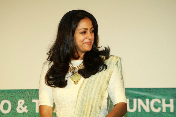 Actress Jyothika At Tamil Movie Audio Launch In White Dress