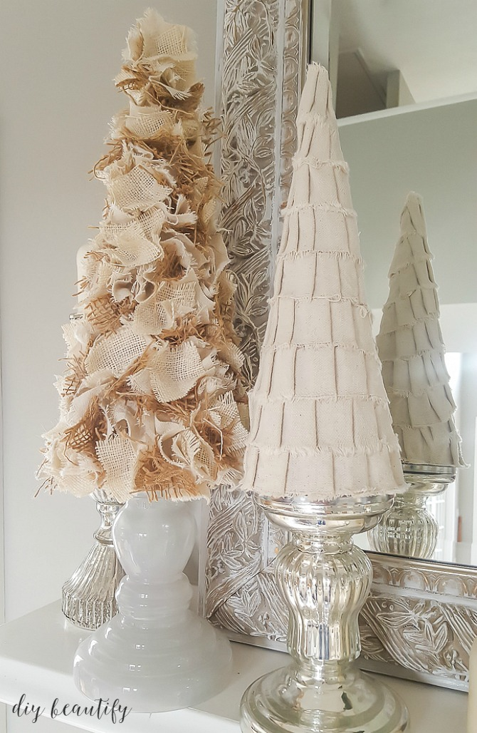 These burlap and drop cloth trees are easy to make and fabulous to decorate with! Get the tutorial at diy beautify.