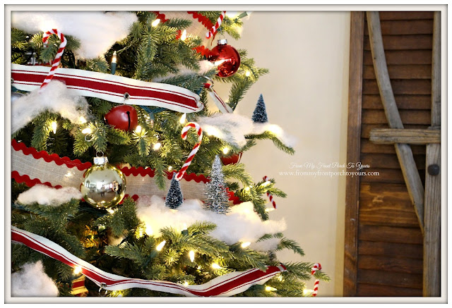 Farmhouse Christmas Tree-Pipe Cleaner Candy Canes-DIY-Jingle Bell Garland- From My Front Porch To Yours