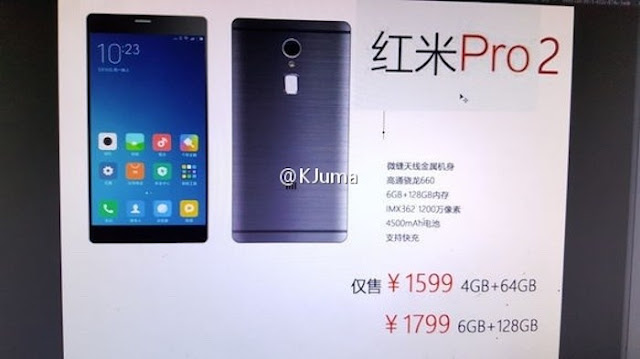 Xiaomi Redmi Pro 2 Leaked specs and features; Snapdragon 660 processor, 6GB RAM, 4500mAh battery