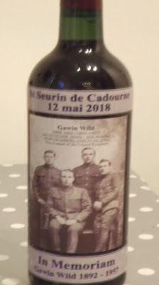 A commemorative bottle of wine with a photograph of Gawin Wild on the label (photo by John Sheen)