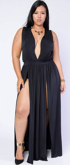 High Slit Low Neck Dress by Gstage