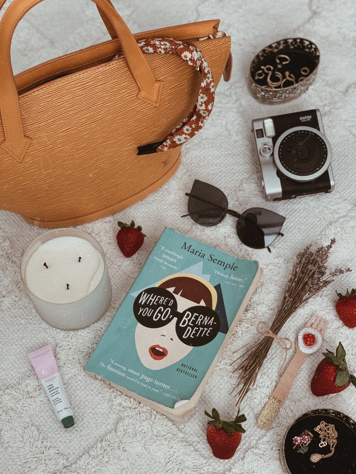 flatlay of where'd you go, bernadette by maria semple - book review | brunch at audrey's