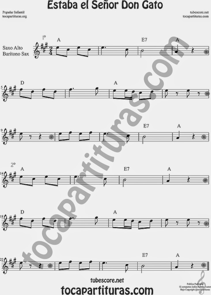 Estaba el Señor Don Gato Partitura de Saxofón Alto y Sax Barítono Sheet Music for Alto and Baritone Saxophone Music Scores
