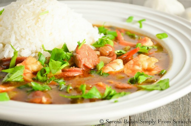 Shrimp and Sausage Gumbo recipe with a scoop of rice in a dark roux is delicious for dinner from Serena Bakes Simply From Scratch.