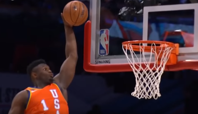 Zion Williamson throws down alley oop slam dunk at NBA Rising Stars Challenge 2/14/2020
