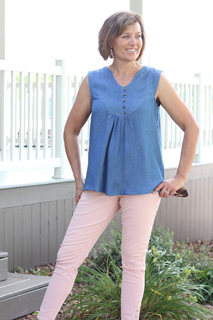 Indiesew's Valencia Tunic in Rayon Denim Shirting
