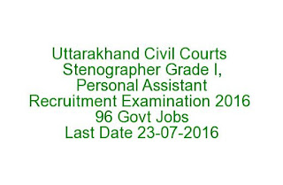 Uttarakhand Civil Courts Stenographer Grade I, Personal Assistant Recruitment Examination 2016 96 Govt Jobs Last Date 23-07-2016