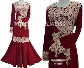 Baju Kurung Moden Lace Warna Maroon
