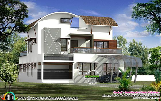 June 2016 kerala home design and floor plans for Curved roof house plans