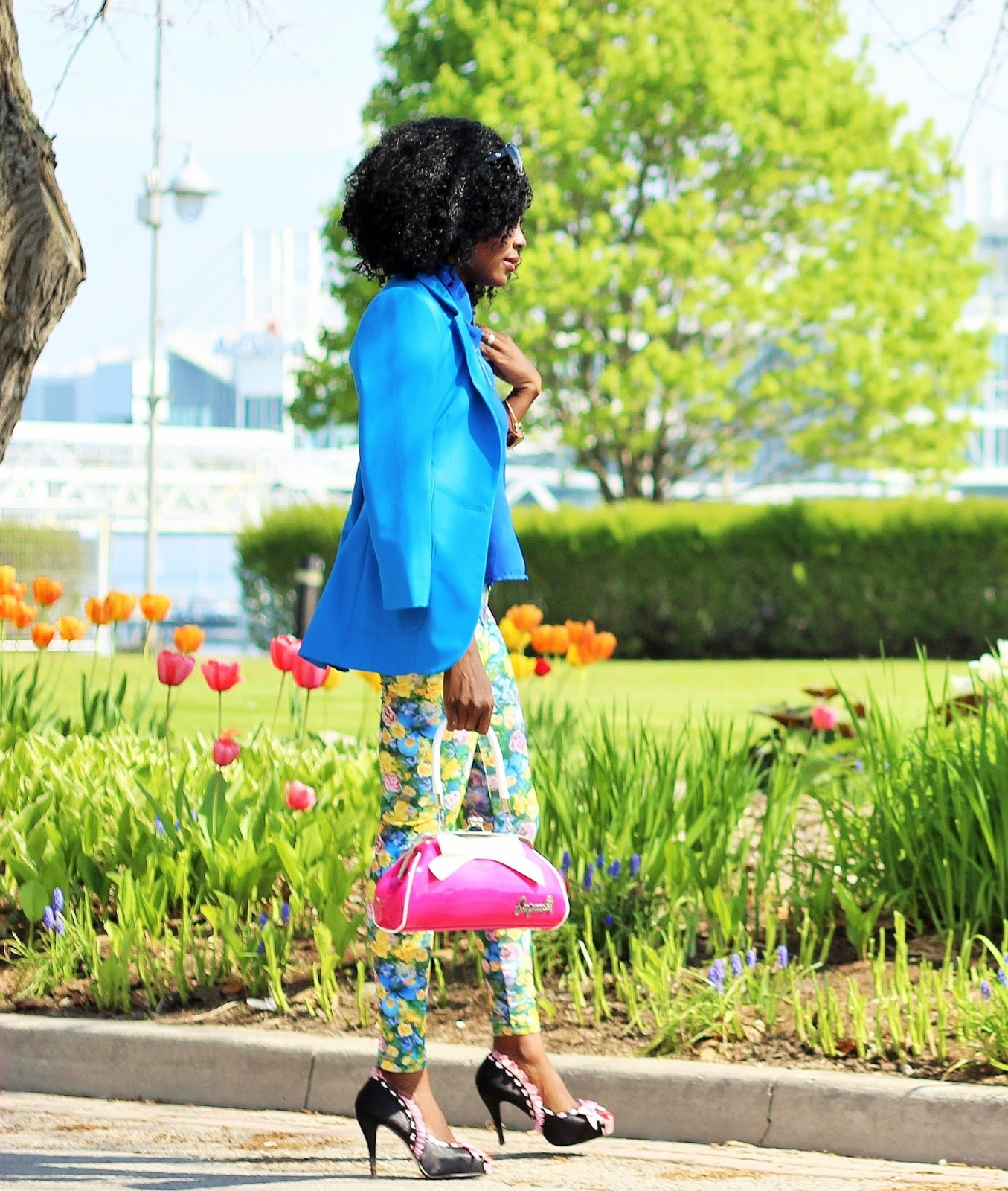 Blue Blazer styled with floral print pants by American Apparel